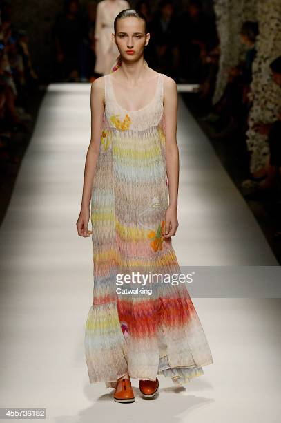 A model walks the runway at the Missoni Spring Summer 2015 fashion show during Milan Fashion Week on September 19 2014 in Milan Italy