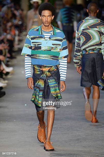 A model walks the runway at the Missoni Spring Summer 2017 fashion show during Milan Menswear Fashion Week on June 19 2016 in Milan Italy