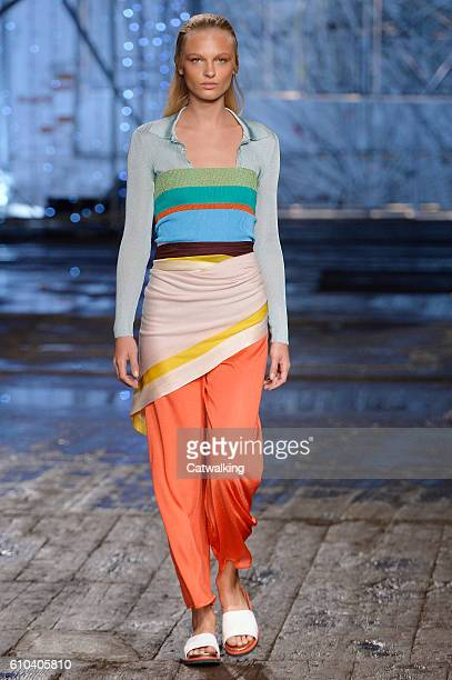 A model walks the runway at the Missoni Spring Summer 2017 fashion show during Milan Fashion Week on September 25 2016 in Milan Italy