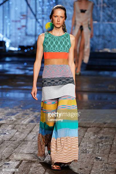 Model walks the runway at the Missoni Spring Summer 2017 fashion show during Milan Fashion Week on September 25, 2016 in Milan, Italy.