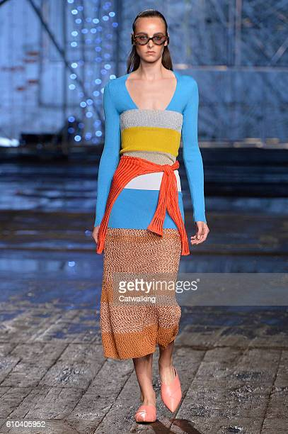 Model walks the runway at the Missoni Spring Summer 2017 fashion show during Milan Fashion Week on September 25, 2016 in Milan, Italy.