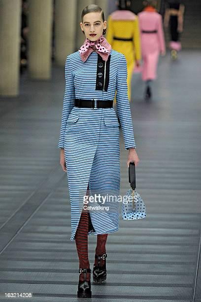 A model walks the runway at the Miu Miu Autumn Winter 2013 fashion show during Paris Fashion Week on March 6 2013 in Paris France