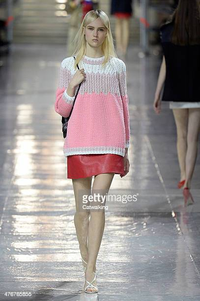 A model walks the runway at the Miu Miu Autumn Winter 2014 fashion show during Paris Fashion Week on March 5 2014 in Paris France