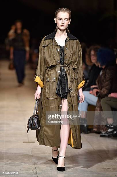 A model walks the runway at the Miu Miu Autumn Winter 2016 fashion show during Paris Fashion Week on March 9 2016 in Paris France