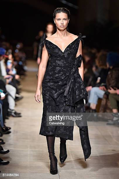 A model walks the runway at the Miu Miu Autumn Winter 2016 fashion show during Paris Fashion Week on March 9 2016 in Paris France