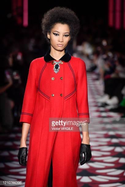 Model walks the runway at the Miu Miu Ready to Wear fashion show as part of the Paris Fashion Week Womenswear Fall/Winter 2020-2021 on March 03, 2020...