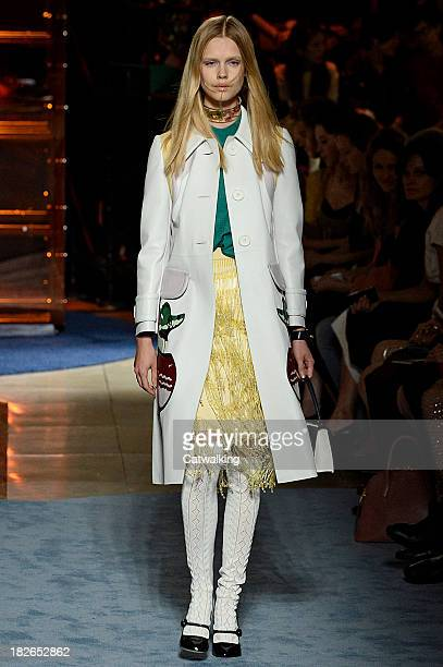 A model walks the runway at the Miu Miu Spring Summer 2014 fashion show during Paris Fashion Week on October 2 2013 in Paris France