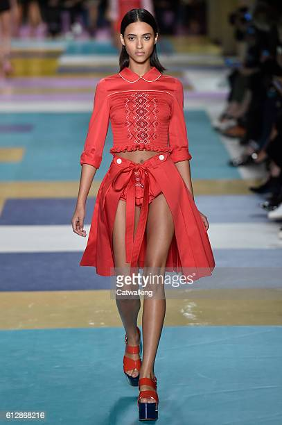 A model walks the runway at the Miu Miu Spring Summer 2017 fashion show during Paris Fashion Week on October 5 2016 in Paris France