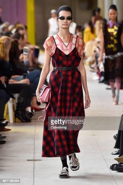 A model walks the runway at the Miu Miu Spring Summer 2018 fashion show during Paris Fashion Week on October 3 2017 in Paris France