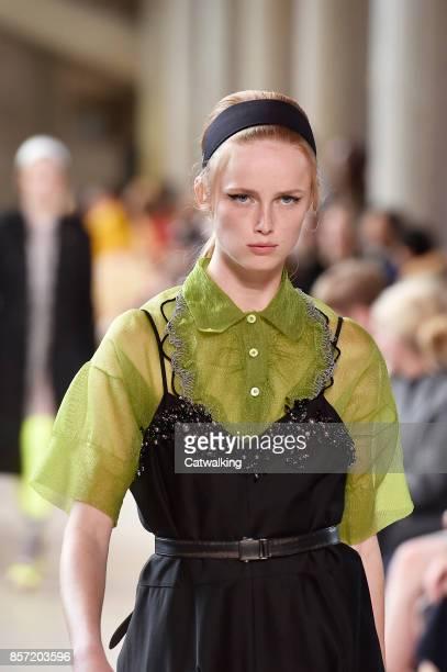 9238cc35b03e A model walks the runway at the Miu Miu Spring Summer 2018 fashion show  during Paris. Miu Miu - Runway RTW ...