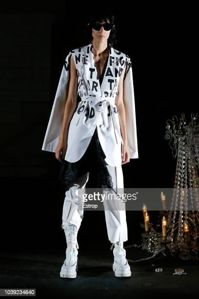 Clothing detail at the MM6 Maison Margiela show during London Fashion Week September 2018 on September 17 2018 in London England