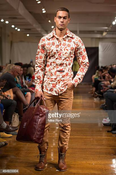 A model walks the runway at the Mochachino Los Angeles | New York fashion show during MercedesBenz Fashion Week Spring 2015 at The Midtown Loft on...