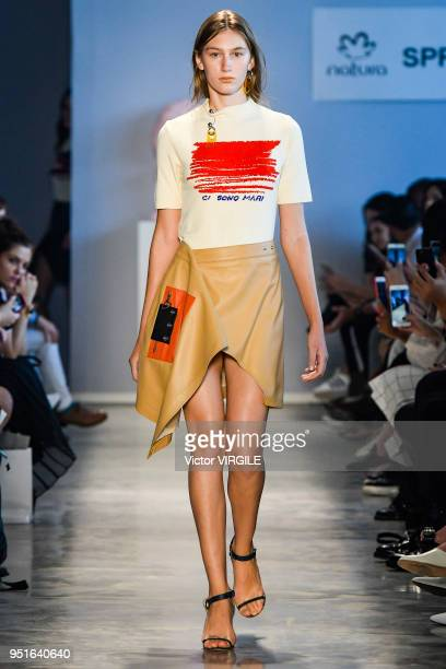A model walks the runway at the Modem Spring Summer 2019 fashion show during the SPFW N45 on April 24 2018 in Sao Paulo Brazil