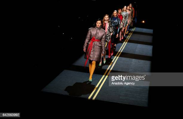 A model walks the runway at the Moises Nieto show during the MercedesBenz Madrid Fashion Week Autumn/Winter 2017 on February 18 2017 in Madrid Spain