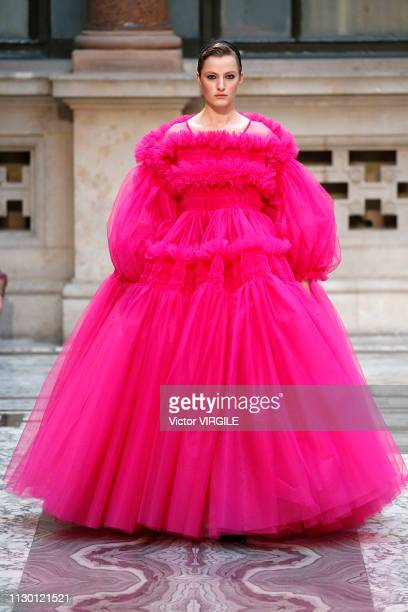 A model walks the runway at the Molly Goddard Ready to Wear Fall/Winter 20192020 fashion show during London Fashion Week February 2019 on February 16...