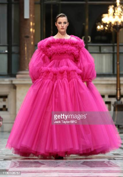A model walks the runway at the Molly Goddard show during London Fashion Week February 2019 at the Durbar Court Foreign and Commonwealth Office on...