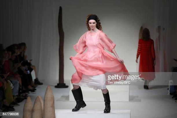 A model walks the runway at the Molly Goddard show during London Fashion Week September 2017 on September 16 2017 in London England