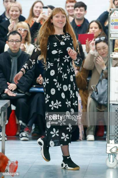 A model walks the runway at the Molly Goddard show during London Fashion Week February 2018 at TopShop Show Space on February 17 2018 in London...