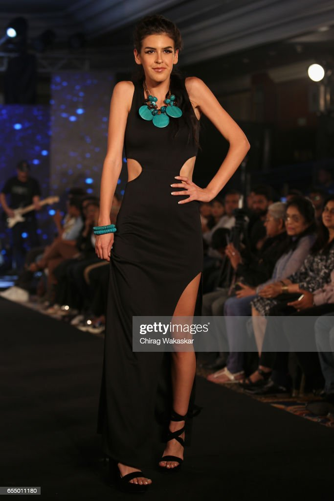 A model walks the runway at the Mona Shroff show during India Intimate Fashion Week 2017 at Hotel Leela on March 18, 2017 in Mumbai, India.