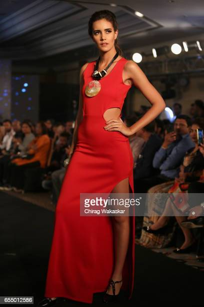 A model walks the runway at the Mona Shroff show during India Intimate Fashion Week 2017 at Hotel Leela on March 18 2017 in Mumbai India
