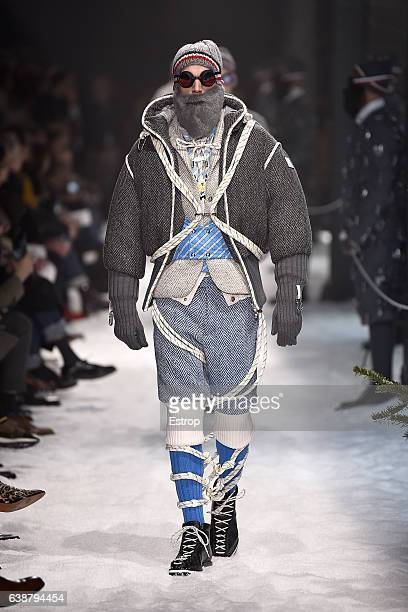 aab4e8b9189a A model walks the runway at the Moncler Gamme Bleu designed by Thom Browne  show during
