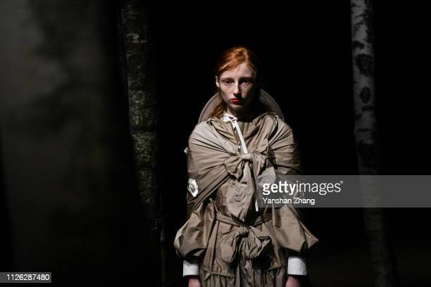A model walks the runway at the Moncler Genius show during Milan Fashion Week Autumn/Winter 2019/20 on February 20 2019 in Milan Italy