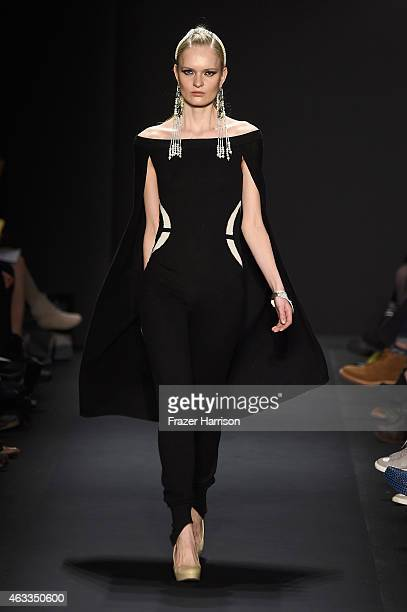 A model walks the runway at the Mongol fashion show during MercedesBenz Fashion Week Fall 2015 at The Theatre at Lincoln Center on February 13 2015...