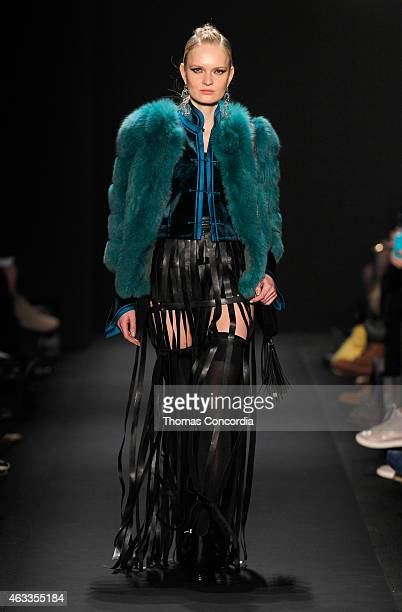 Model walks the runway at the Mongol fashion show during Mercedes-Benz Fashion Week Fall 2015 at The Theatre at Lincoln Center on February 13, 2015...