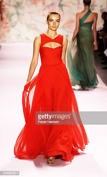 A model walks the runway at the Monique Lhuillier Spring 2011 fashion show during MercedesBenz Fashion Week at The Stage at Lincoln Center on...