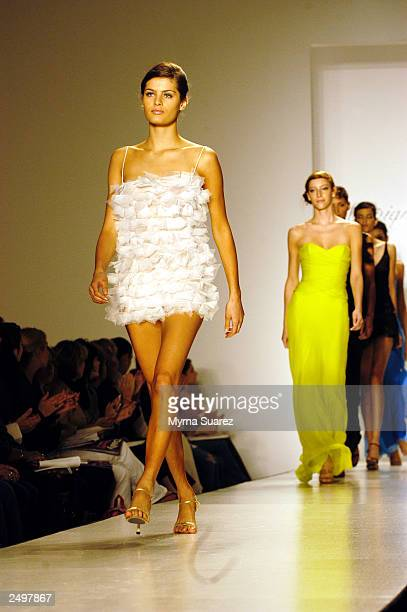 A model walks the runway at the Monique Lhuillier Spring/Summer 2004 fashion show at Bryant Park during the 7th on Sixth MercedesBenz New York...