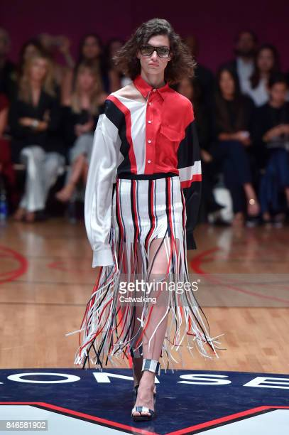 A model walks the runway at the Monse Spring Summer 2018 fashion show during New York Fashion Week on September 8 2017 in New York United States