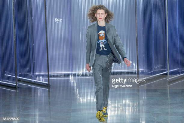 A model walks the runway at the Moods Of Norway show during the Fashion Week Oslo Autumn/Winter 2017 at the Munch Museum on February 08 2017 in Oslo...