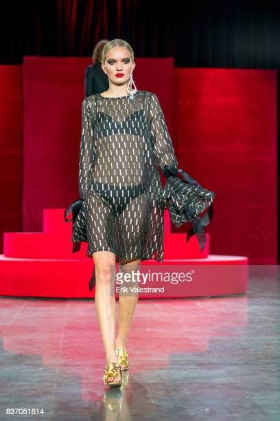 Model walks the runway at the Moods Of Norway show during the Fashion Week Oslo Spring/Summer 2018 on August 22, 2017 in Oslo, Norway.