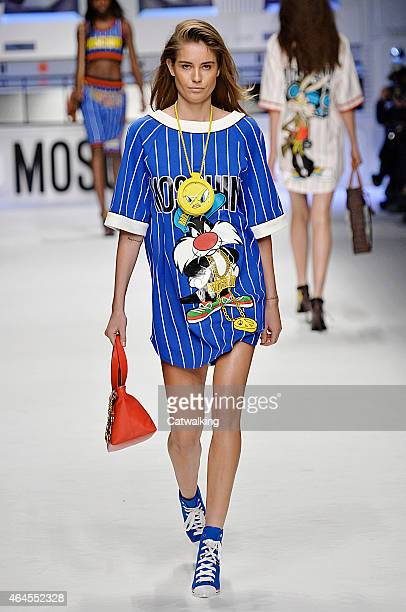 Model walks the runway at the Moschino Autumn Winter 2015 fashion show during Milan Fashion Week on February 26, 2015 in Milan, Italy.