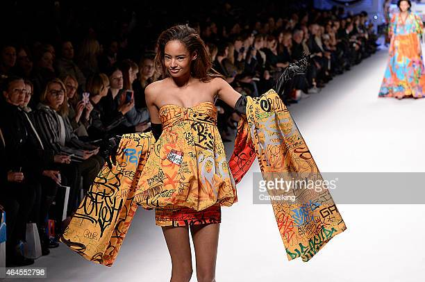 A model walks the runway at the Moschino Autumn Winter 2015 fashion show during Milan Fashion Week on February 26 2015 in Milan Italy