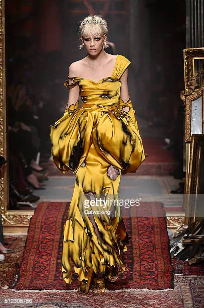 A model walks the runway at the Moschino Autumn Winter 2016 fashion show during Milan Fashion Week on February 25 2016 in Milan Italy