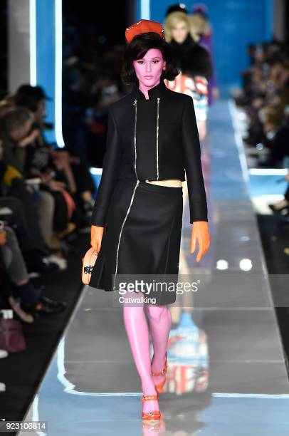 Model walks the runway at the Moschino Autumn Winter 2018 fashion show during Milan Fashion Week on February 21, 2018 in Milan, Italy.