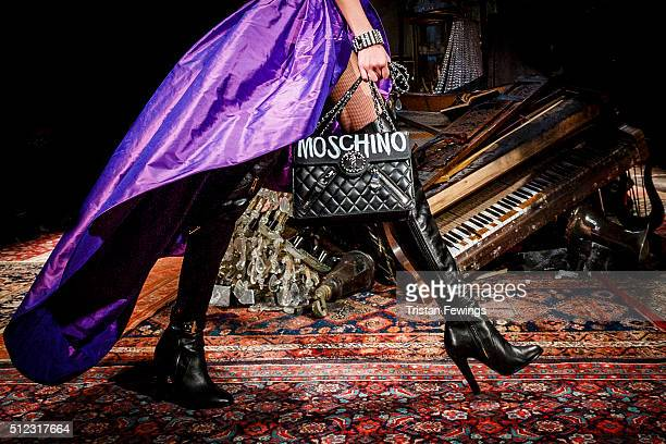 A model walks the runway at the Moschino fashion show during Milan Fashion Week Fall/Winter 2016/17 on February 25 2016 in Milan Italy