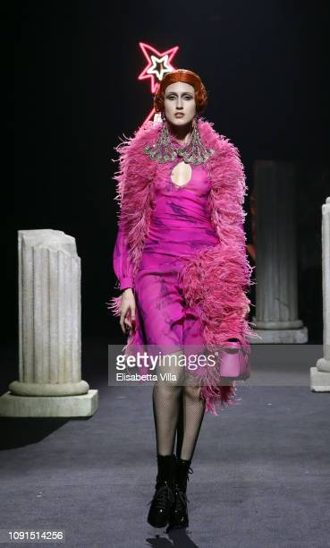 A model walks the runway at the Moschino show at Cinecitta on January 08 2019 in Rome Italy