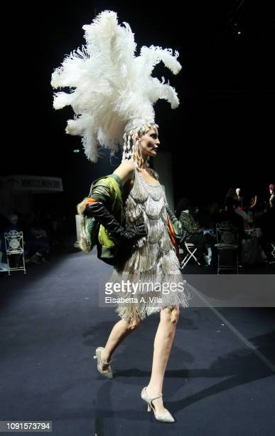 Model walks the runway at the Moschino show at Cinecitta on January 08, 2019 in Rome, Italy.