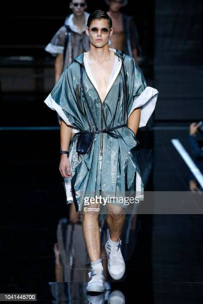 A model walks the runway at the Moschino show during Milan Fashion Week Spring/Summer 2019 on September 20 2018 in Milan Italy