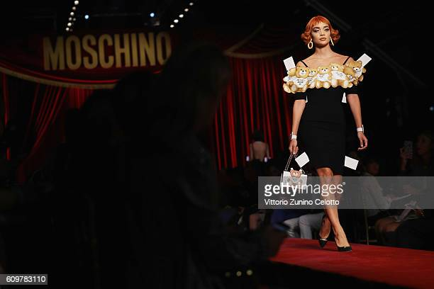 A model walks the runway at the Moschino show during Milan Fashion Week Spring/Summer 2017 on September 22 2016 in Milan Italy