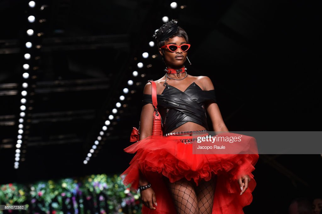 A model walks the runway at the Moschino show during Milan Fashion Week Spring/Summer 2018 on September 21, 2017 in Milan, Italy.