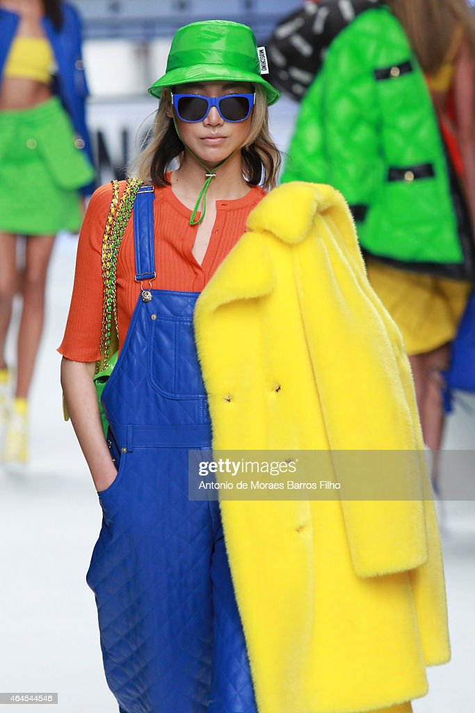 A model walks the runway at the Moschino show during the Milan Fashion Week Autumn/Winter 2015 on February 26, 2015 in Milan, Italy.