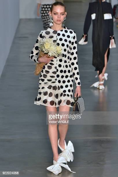 A model walks the runway at the Mother of Pearl Ready to Wear Fall/Winter 20182019 fashion show during London Fashion Week February 2018 on February...