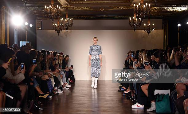 A model walks the runway at the Mother of Pearl show during London Fashion Week Spring/Summer 2016/17 on September 19 2015 in London England