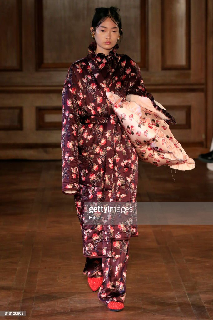 A model walks the runway at the Mother Of Pearl show during London Fashion Week September 2017 on September 16, 2017 in London, England.