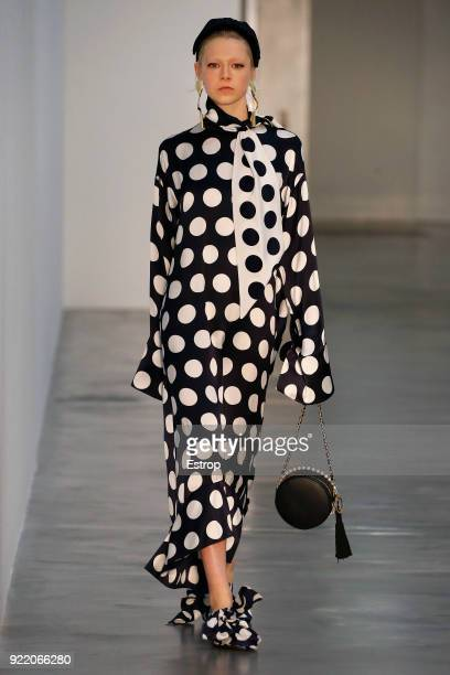A model walks the runway at the Mother of Pearl show during London Fashion Week February 2018 at Newport Street Gallery on February 19 2018 in London...
