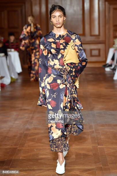 Model walks the runway at the Mother of Pearl Spring Summer 2018 fashion show during London Fashion Week on September 16, 2017 in London, United...