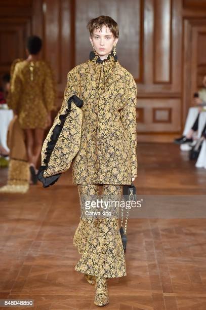 A model walks the runway at the Mother of Pearl Spring Summer 2018 fashion show during London Fashion Week on September 16 2017 in London United...